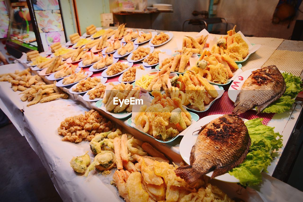 High Angle View Of Food At Market For Sale