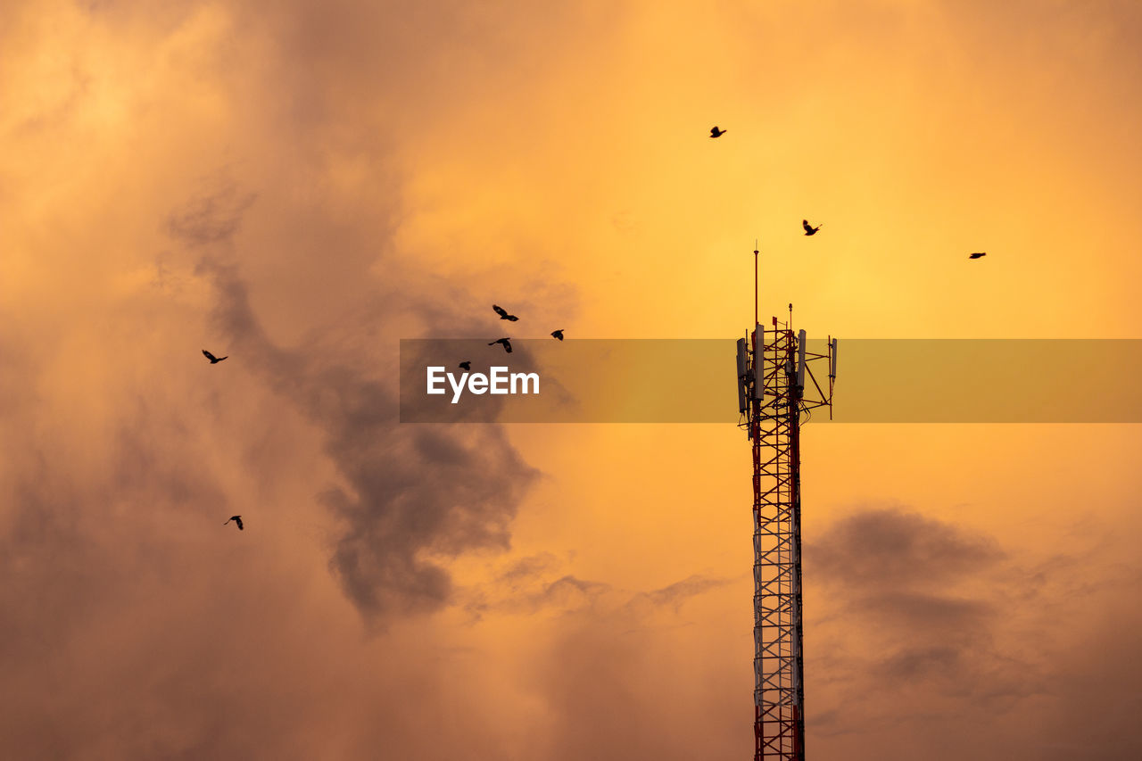 sky, cloud - sky, sunset, vertebrate, bird, animal themes, animal, silhouette, technology, animals in the wild, orange color, animal wildlife, low angle view, group of animals, large group of animals, flying, no people, nature, beauty in nature, architecture, flock of birds, outdoors, global communications