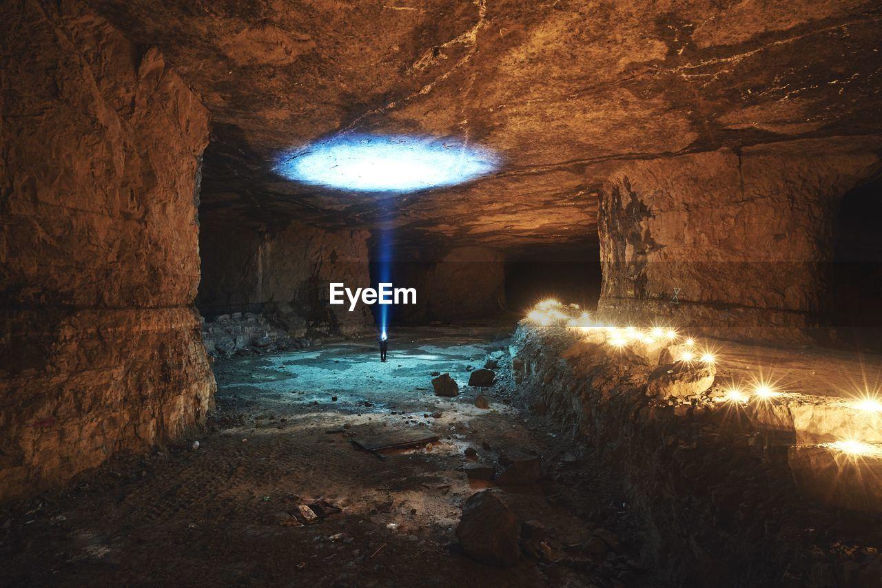 Close-Up Of Illuminated Cave