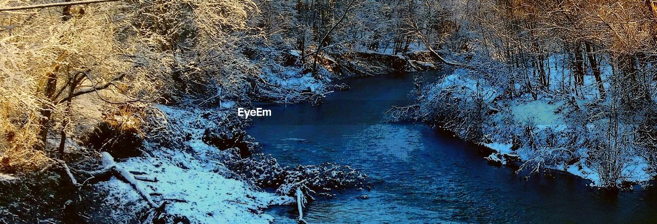 nature, river, beauty in nature, tree, water, winter, no people, outdoors, tranquility, day, scenics, tranquil scene, forest, cold temperature, snow, landscape, sky