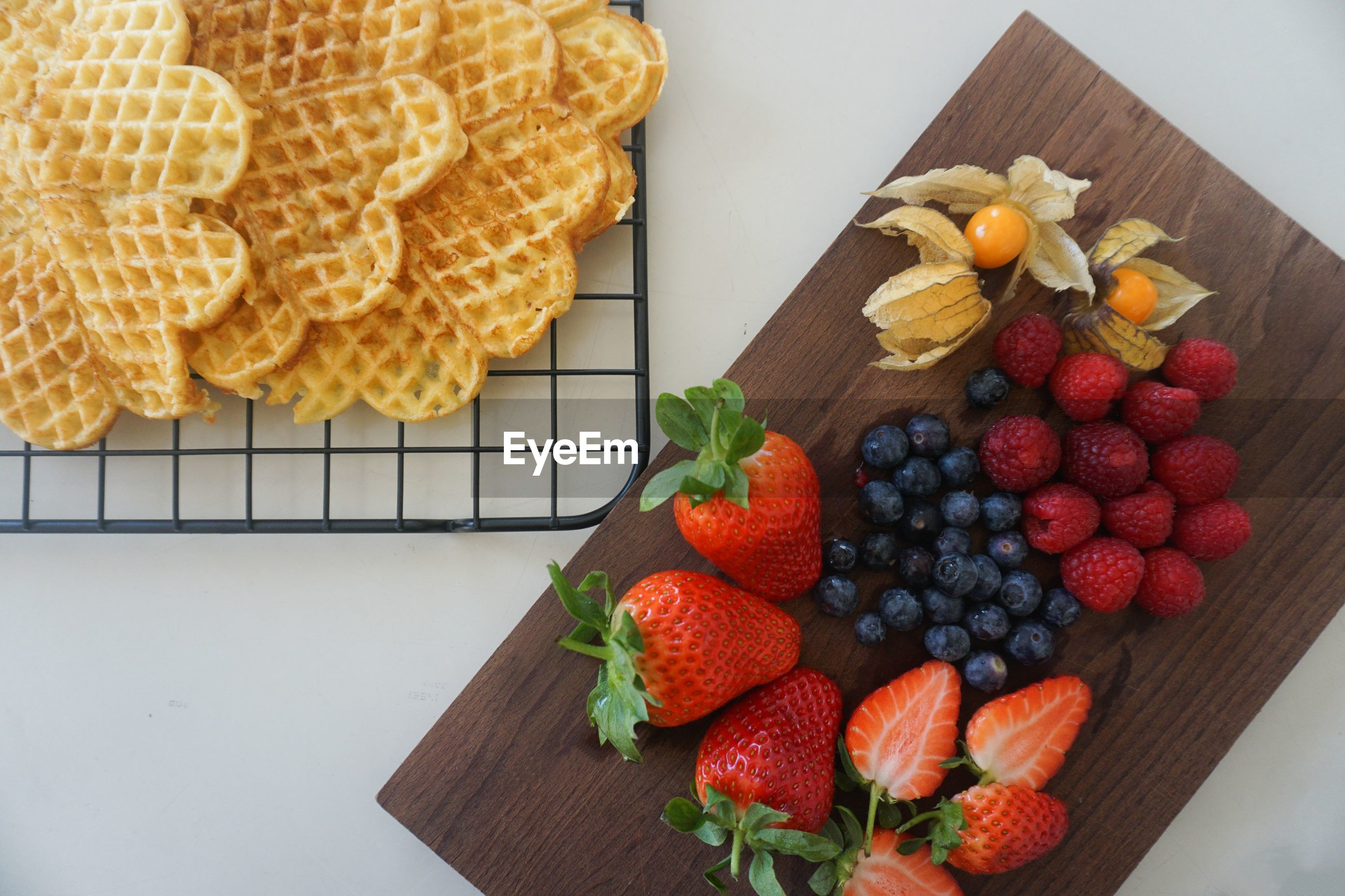 Close up of waffles and berries