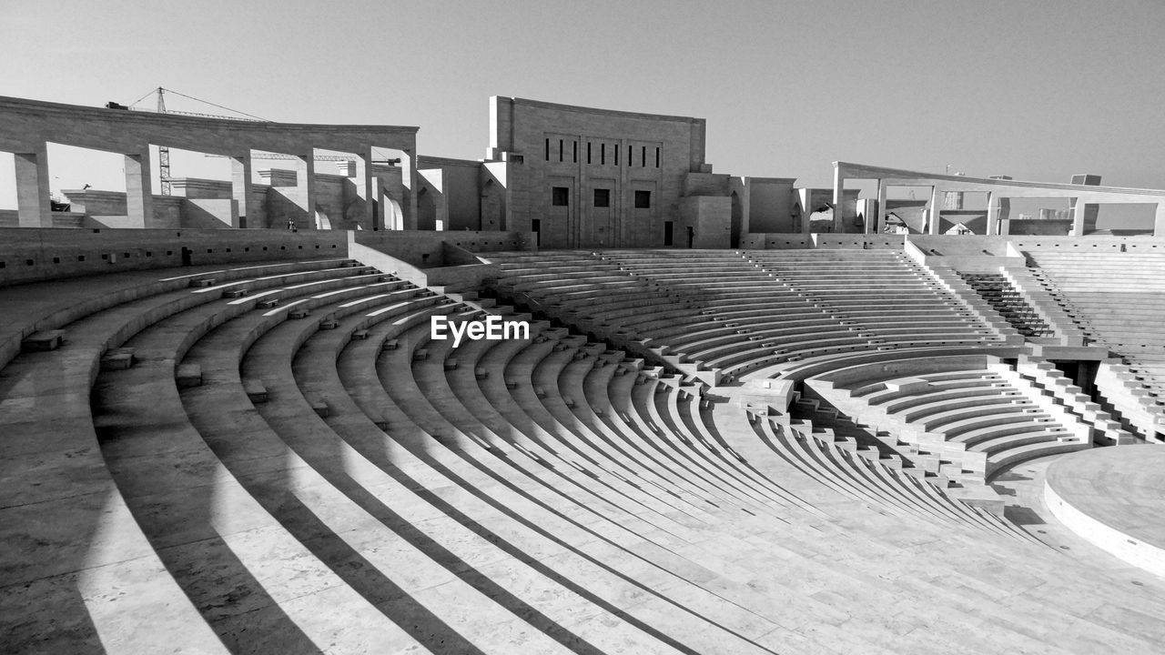High Angle View Of Amphitheater Against Clear Sky