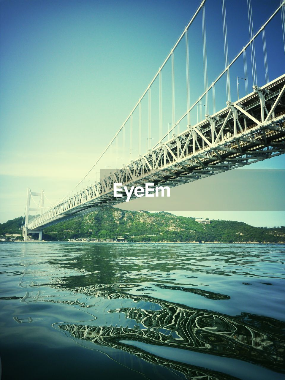 Low Angle View Of Great Seto Bridge Against Clear Sky
