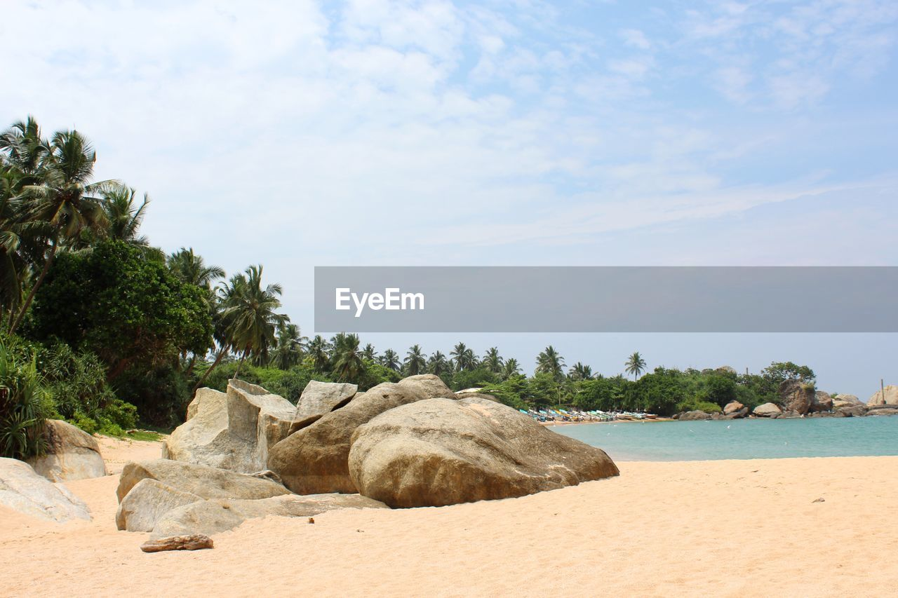 sky, water, sea, rock, tree, beach, beauty in nature, nature, land, rock - object, plant, solid, tranquility, day, cloud - sky, scenics - nature, tranquil scene, sand, no people, outdoors