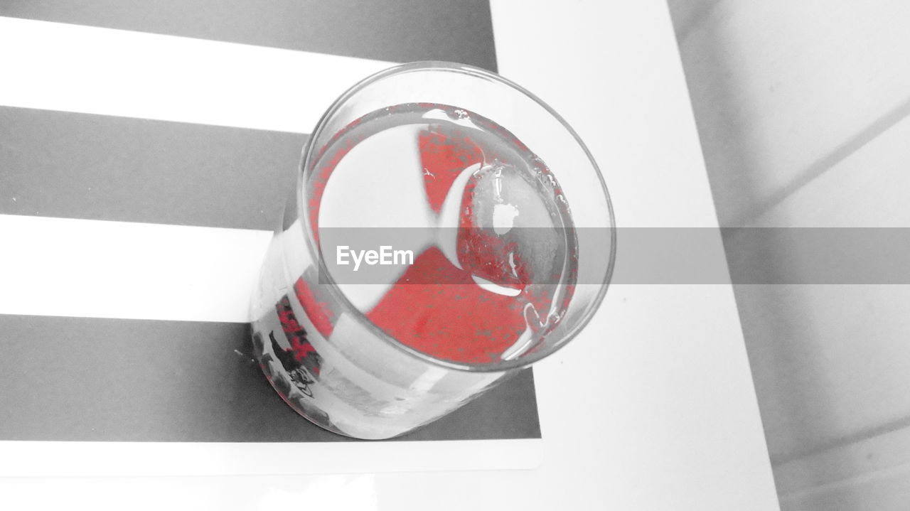 high angle view, red, indoors, no people, close-up, food and drink, day, laboratory