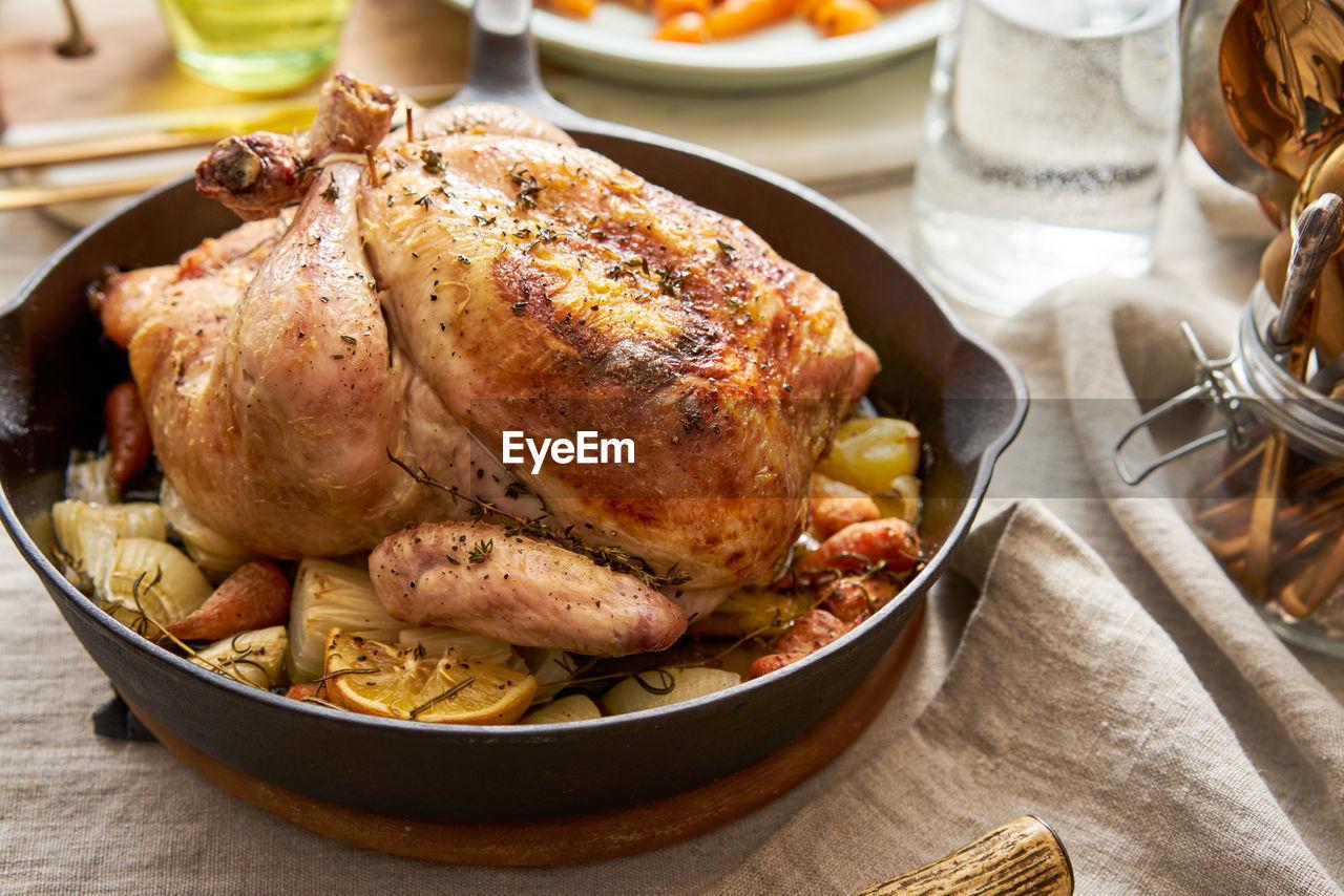 Close up of roast chicken