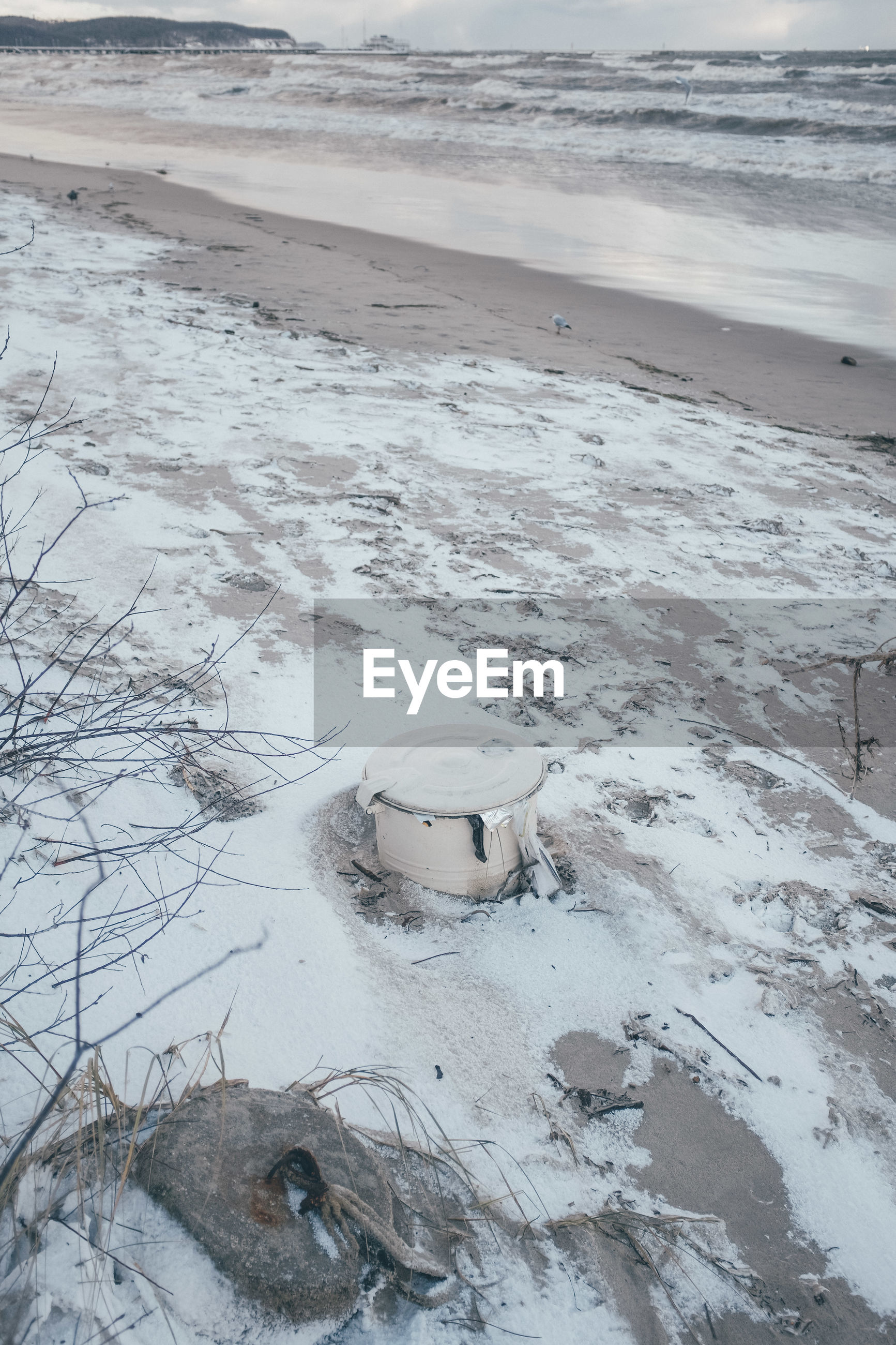 High angle view of beach during winter