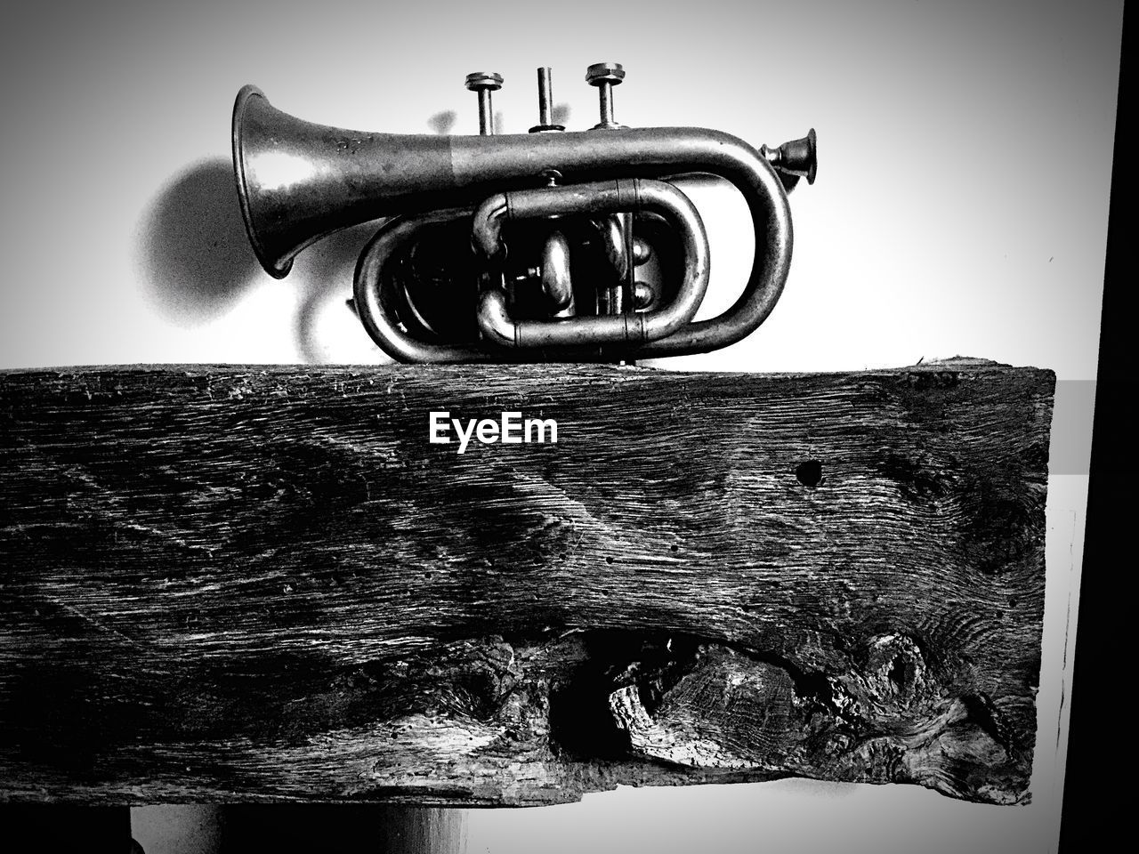 Close-Up Of Trumpet On Wooden Shelf