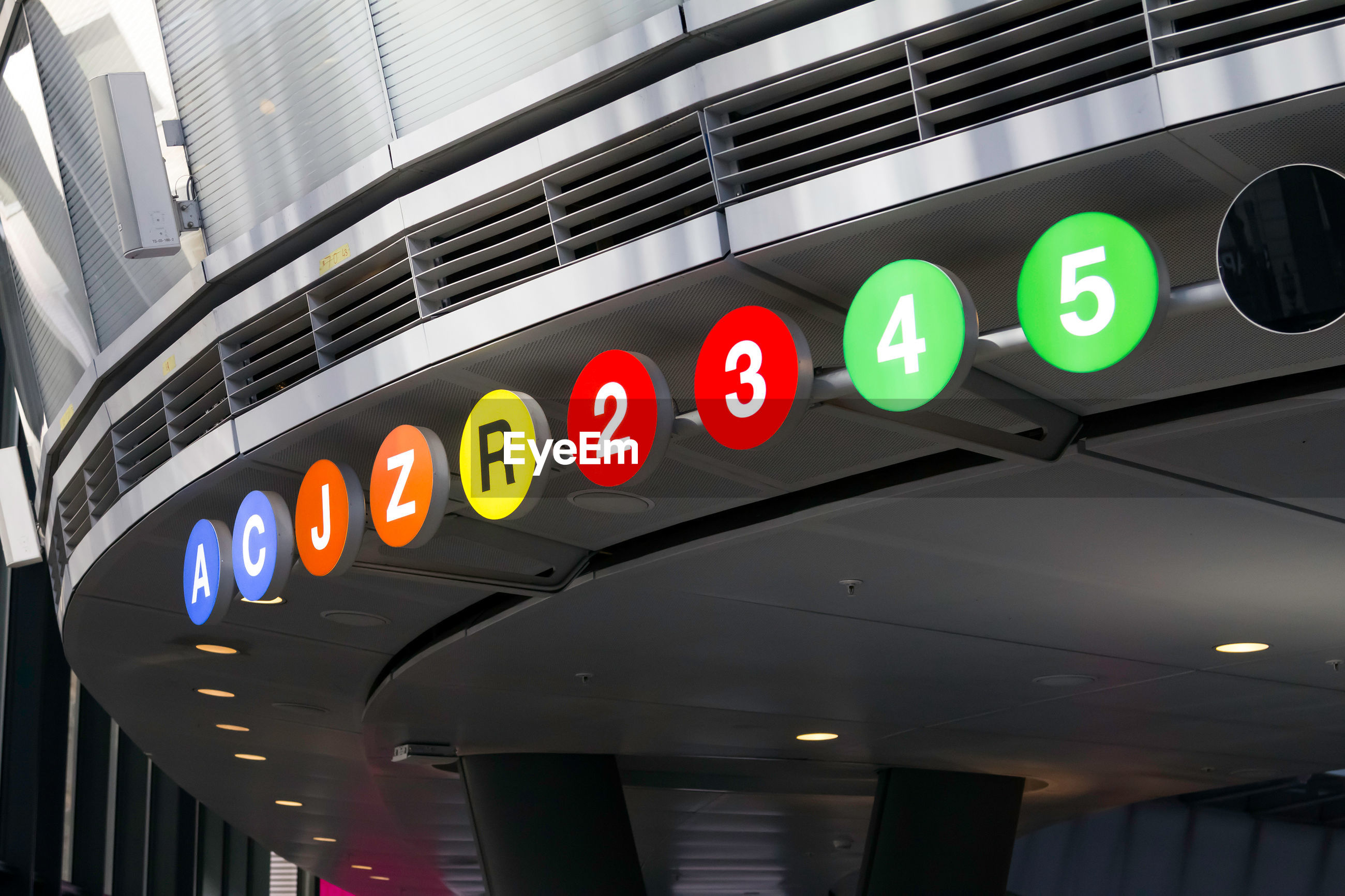 Colorful sign board in subway station
