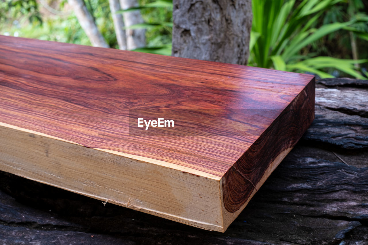 wood - material, focus on foreground, no people, close-up, publication, brown, day, nature, book, tree, table, still life, education, outdoors, high angle view, log, wood, plant, bark, bench, hardcover book