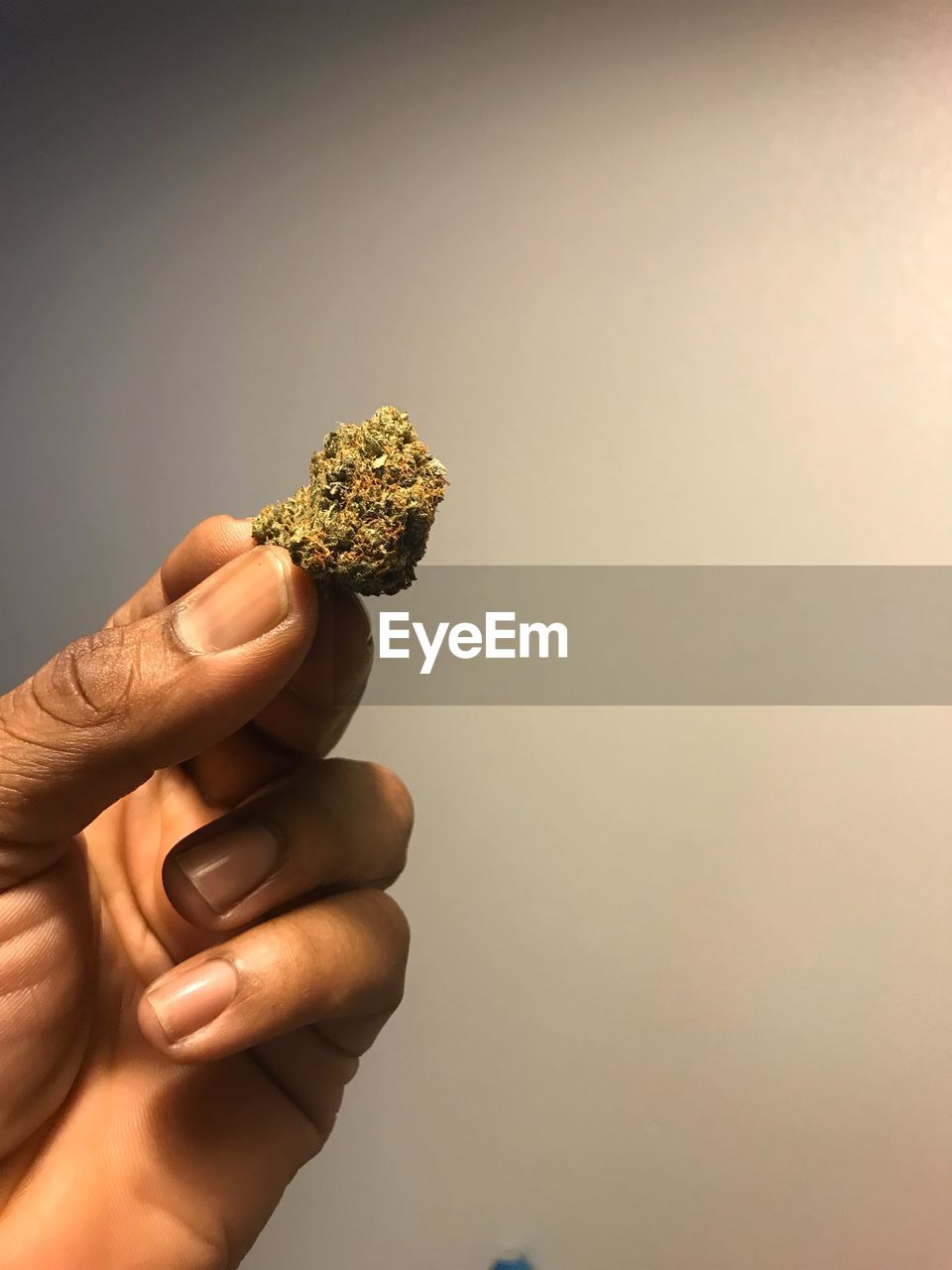 Cropped Hand Of Person Holding Marijuana Against Wall