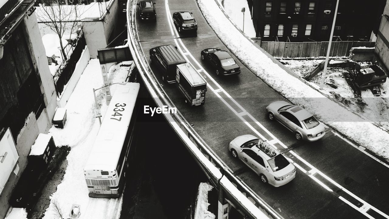 High Angle View Of Vehicles On Bridge During Winter