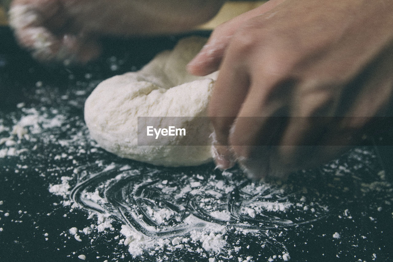 human hand, hand, human body part, one person, food, real people, preparation, food and drink, dough, freshness, indoors, flour, preparing food, close-up, lifestyles, kneading, table, selective focus, unrecognizable person, finger