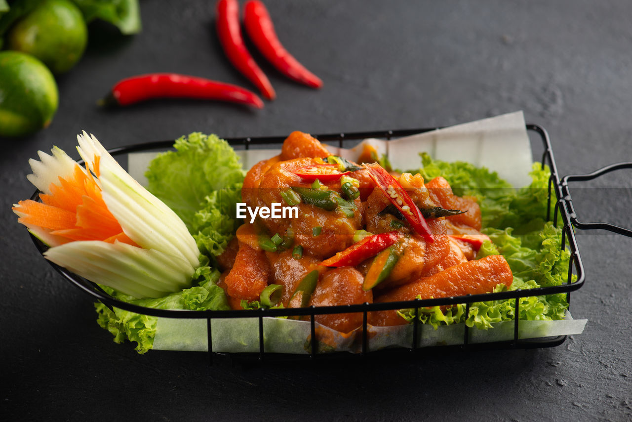 food, food and drink, freshness, vegetable, healthy eating, wellbeing, indoors, table, still life, ready-to-eat, serving size, close-up, pepper, meat, no people, high angle view, meal, red, chili pepper, slice, tray, snack
