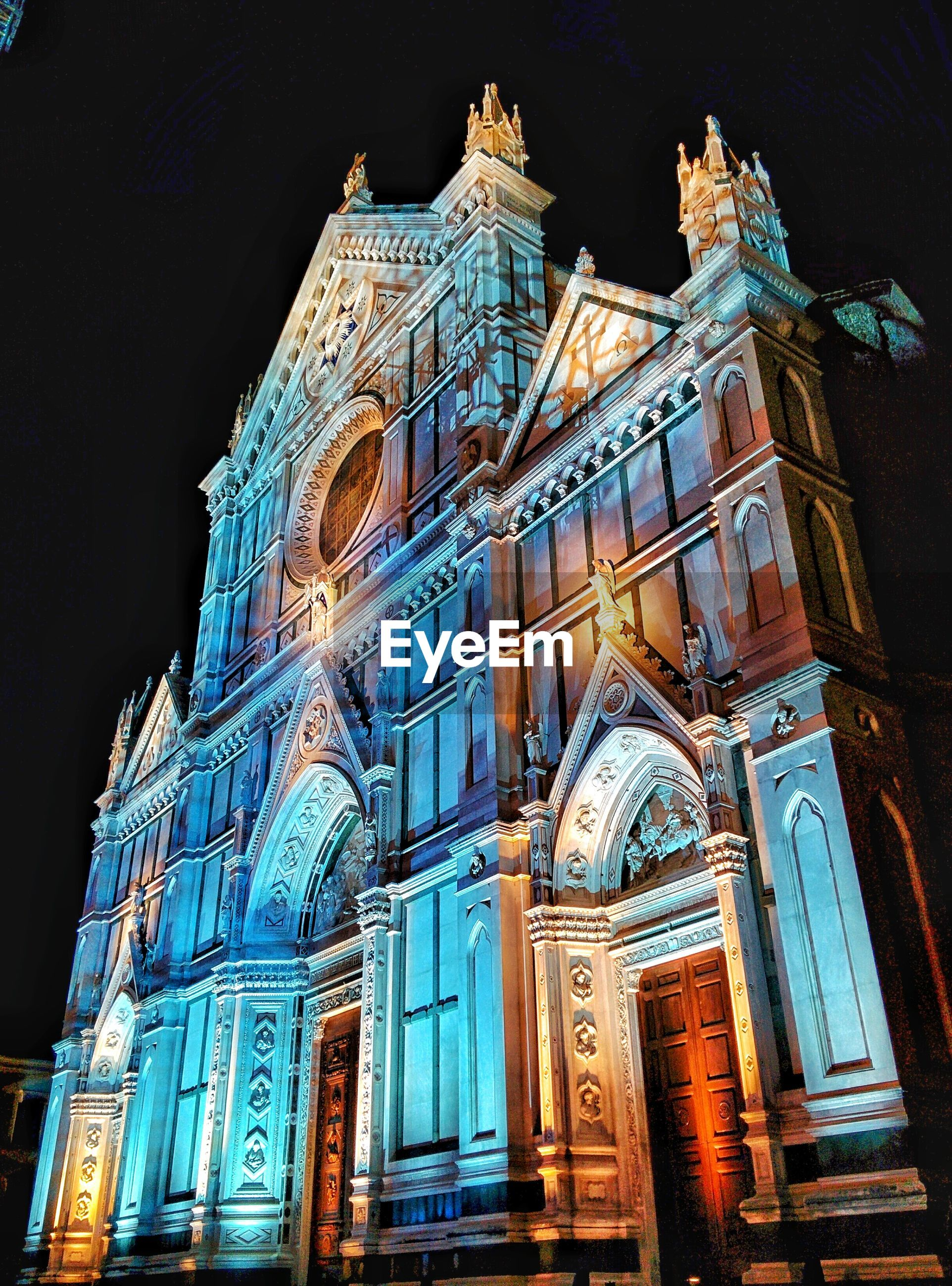 Low angle view of illuminated florence cathedral at night