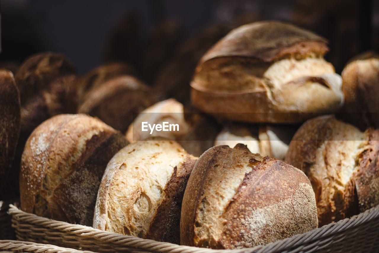Close-up of bread in basket