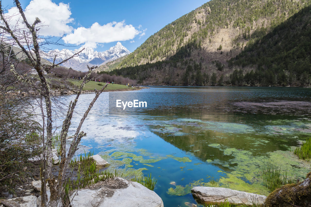 water, scenics - nature, beauty in nature, mountain, tranquil scene, tranquility, sky, lake, nature, non-urban scene, no people, tree, cloud - sky, day, plant, idyllic, rock, remote, solid, outdoors
