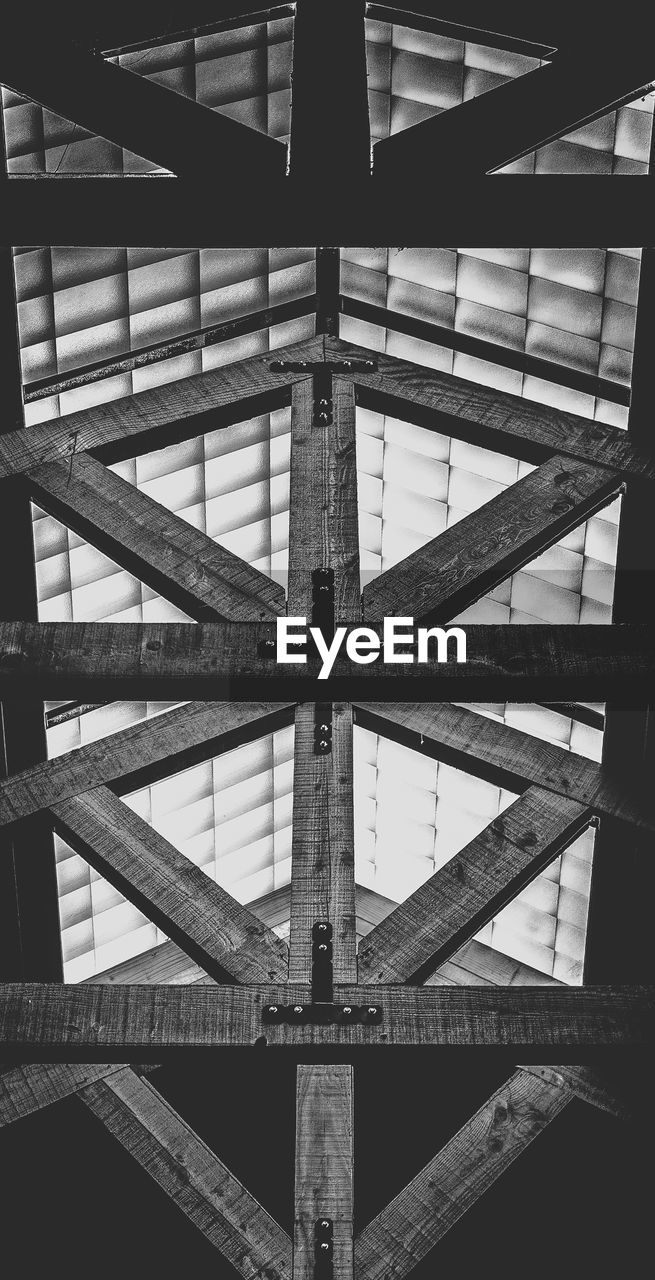 architecture, pattern, full frame, built structure, no people, indoors, backgrounds, low angle view, close-up, metal, ceiling, geometric shape, wood - material, day, shape, textured, directly below, design, industry, roof beam