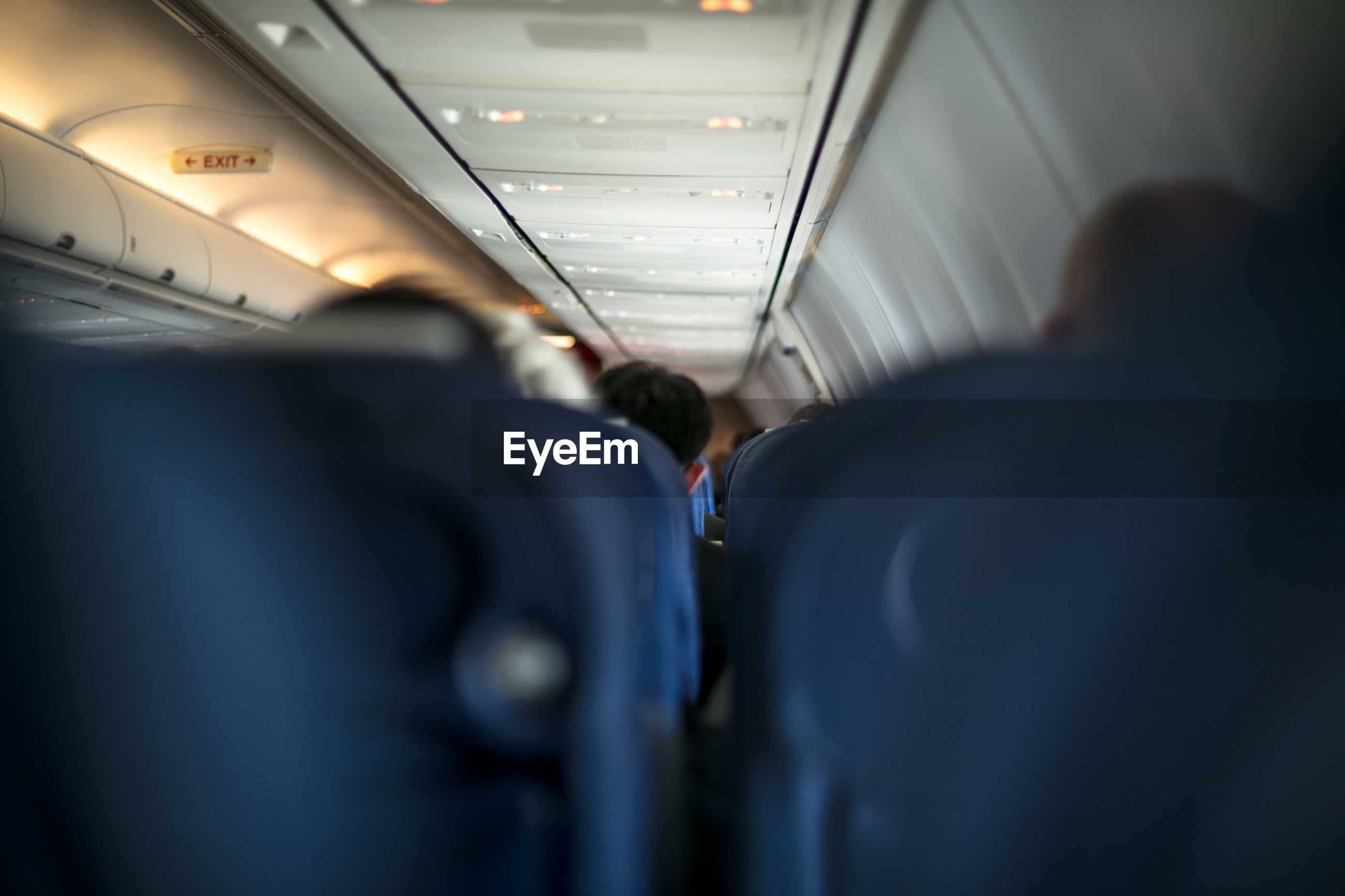 Rear view of man in airplane
