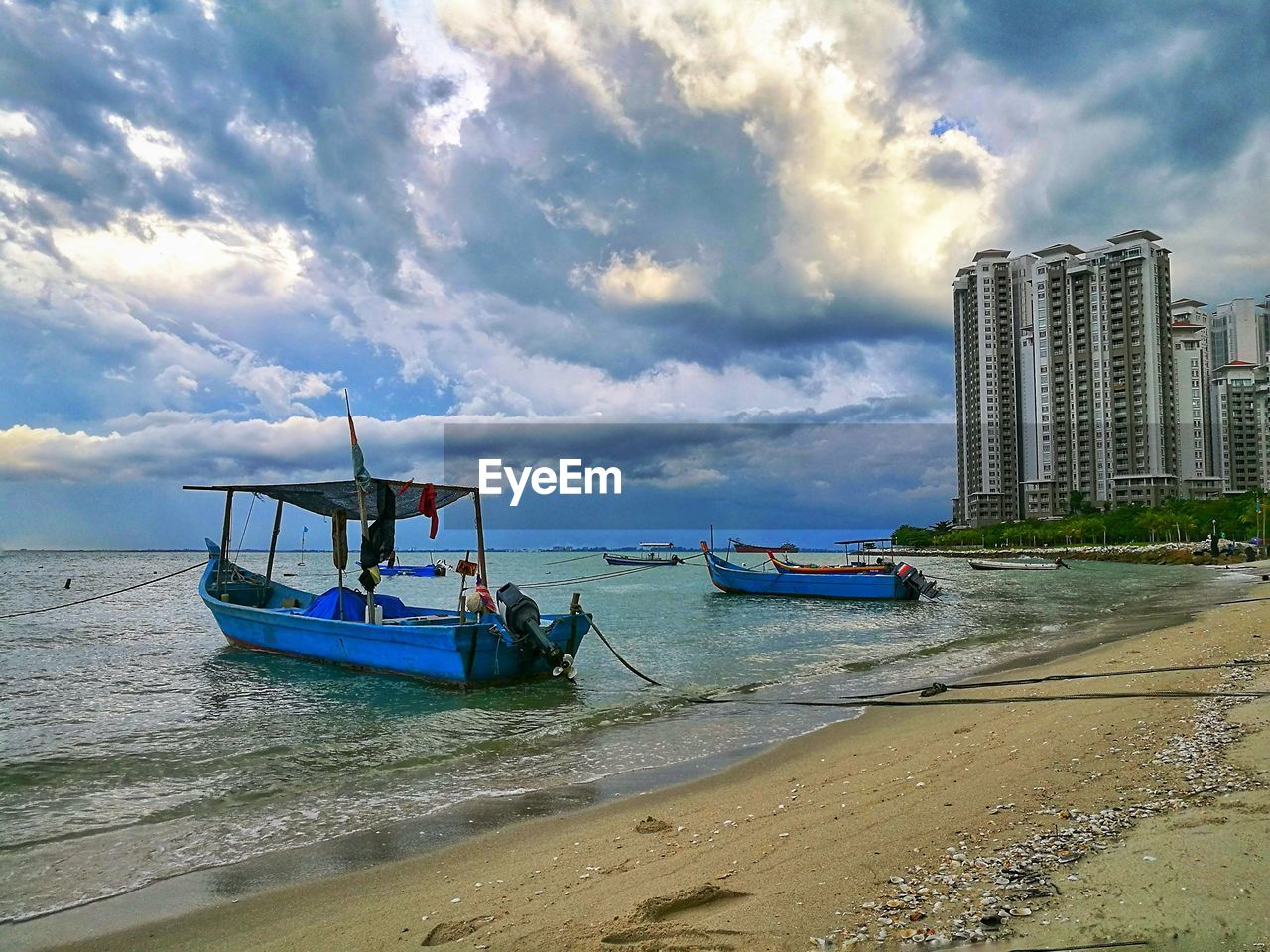 transportation, nautical vessel, sea, beach, sky, mode of transport, cloud - sky, water, moored, nature, outdoors, sand, day, no people, city