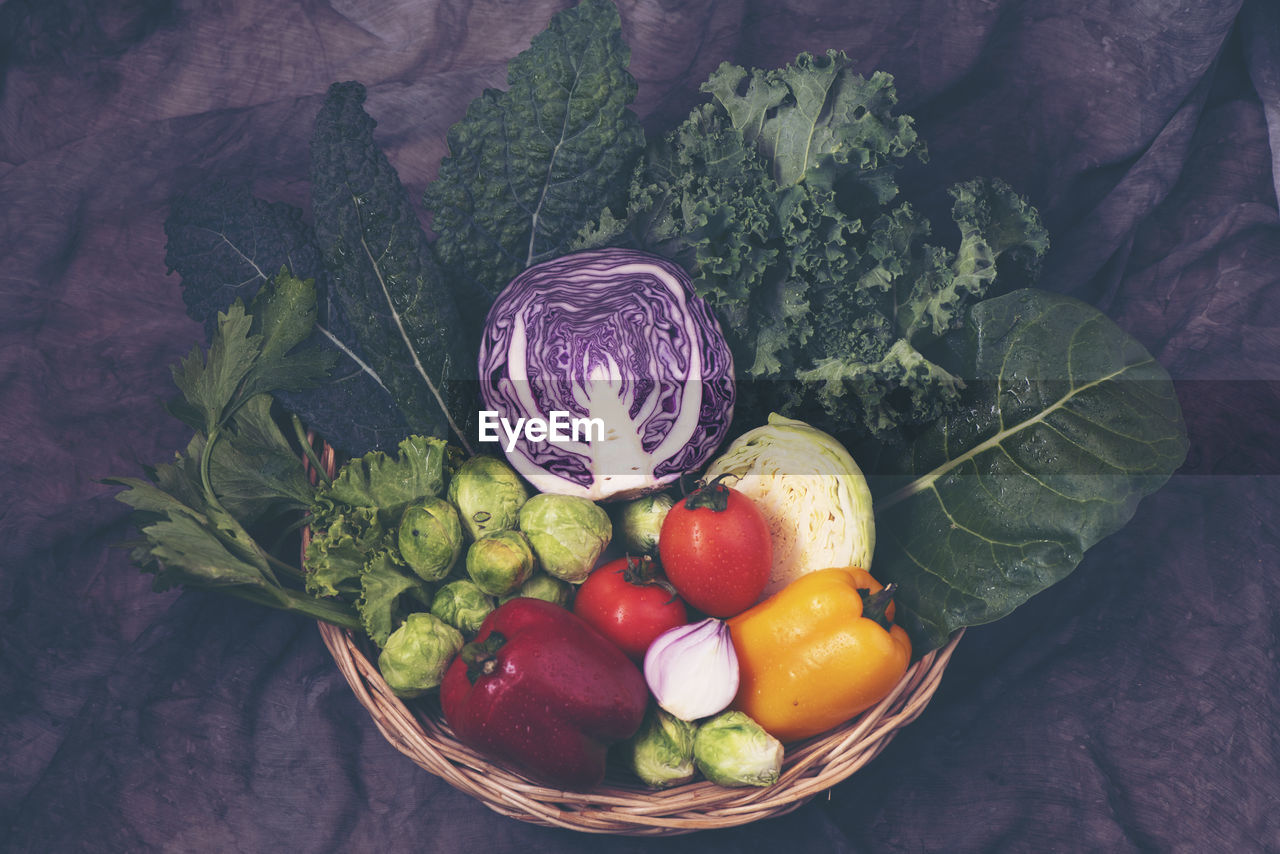 healthy eating, food and drink, freshness, wellbeing, food, vegetable, fruit, high angle view, leaf, container, plant part, still life, no people, choice, indoors, variation, tomato, green color, basket, organic, herb, vegetarian food