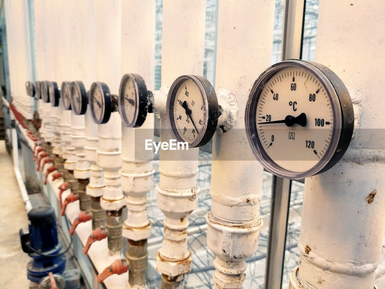 Gauges in row at factory