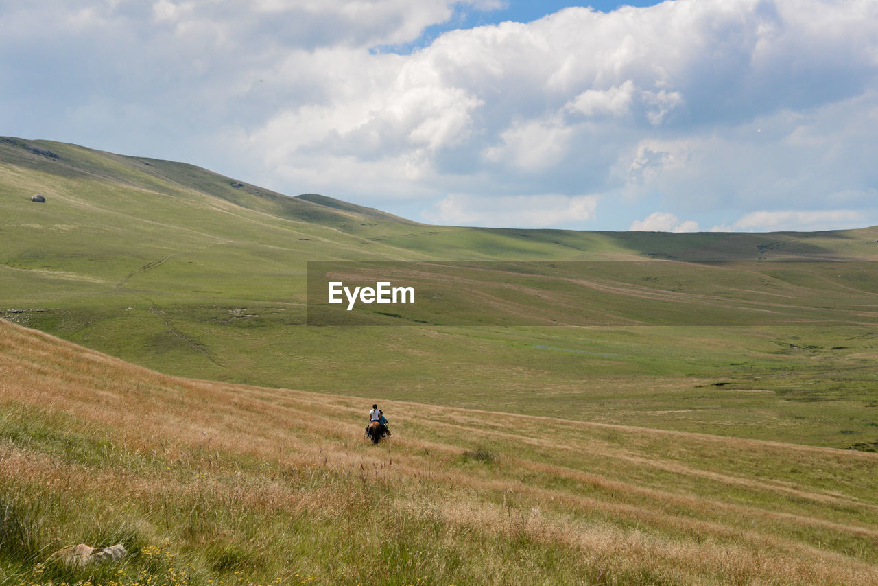 Rear view of person riding horse on hill against cloudy sky