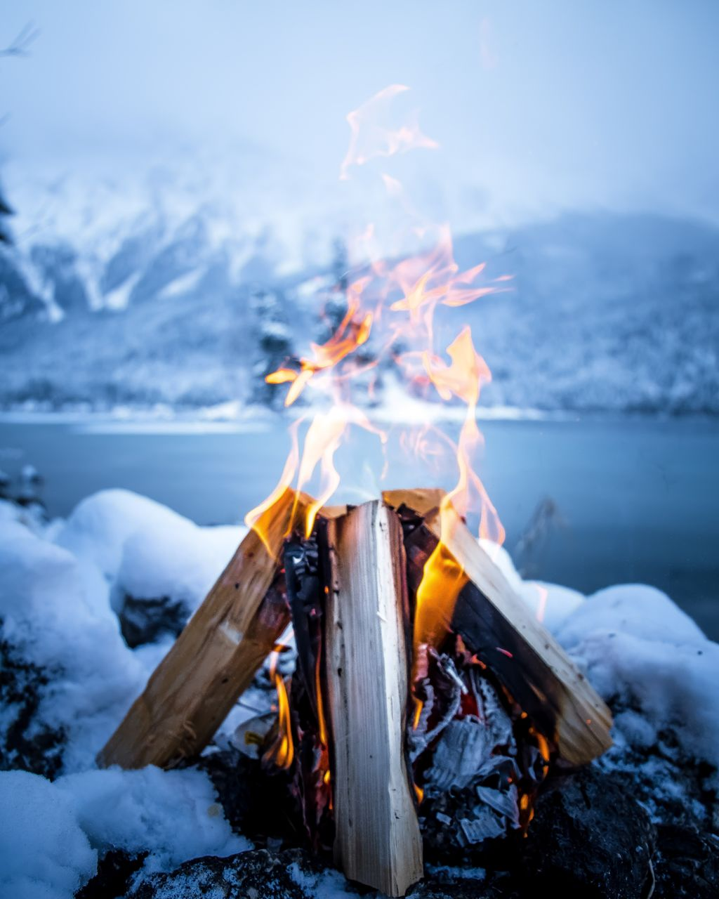 Close-Up Of Bonfire On Snow By Lake Against Sky