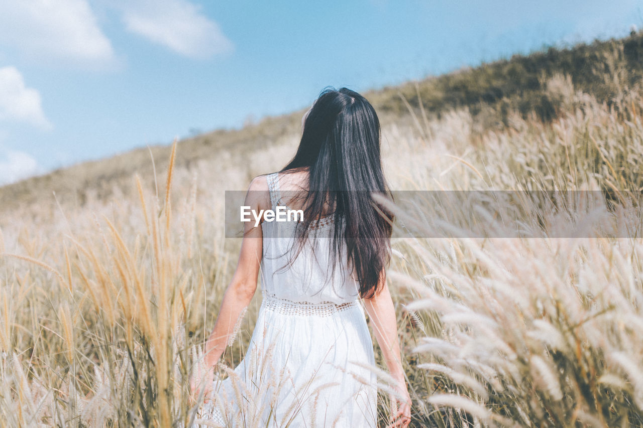 field, nature, long hair, real people, sky, lifestyles, one person, outdoors, day, cereal plant, leisure activity, standing, women, grass, rural scene, beauty in nature, people