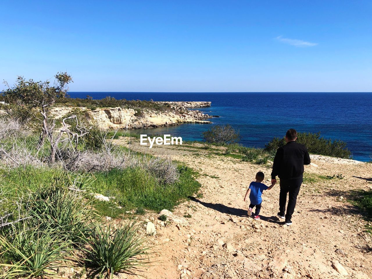 sea, water, sky, real people, two people, nature, beauty in nature, rear view, scenics - nature, full length, men, day, beach, horizon, horizon over water, land, lifestyles, togetherness, plant, outdoors