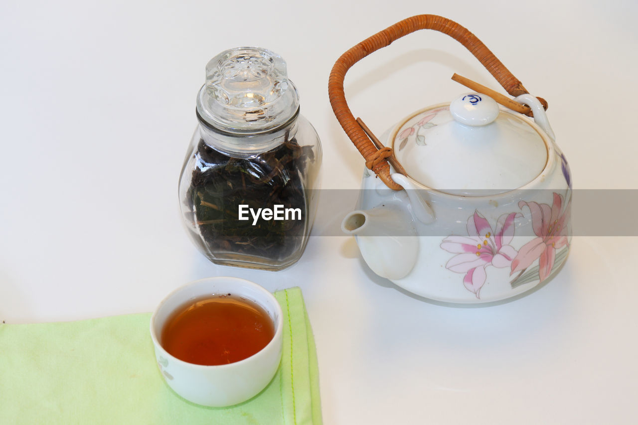 food and drink, refreshment, still life, indoors, drink, container, tea, cup, high angle view, table, tea - hot drink, teapot, food, mug, hot drink, no people, tea cup, close-up, jar, freshness, crockery, tray
