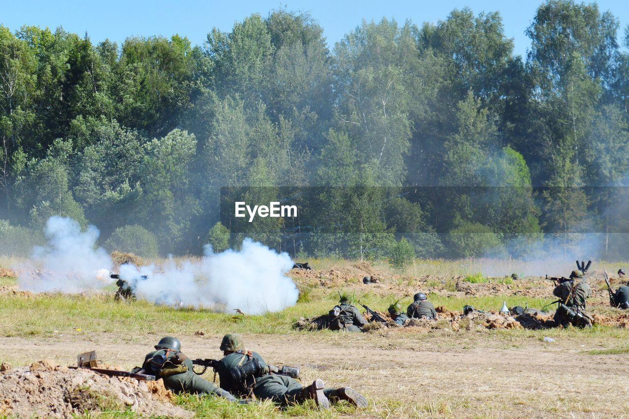 Historical reenactment of war on field