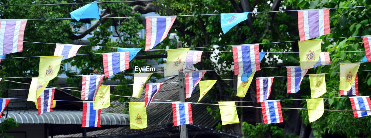 hanging, clothesline, multi colored, bunting, clothespin, no people, day, outdoors, flag, variation, drying, tree, close-up