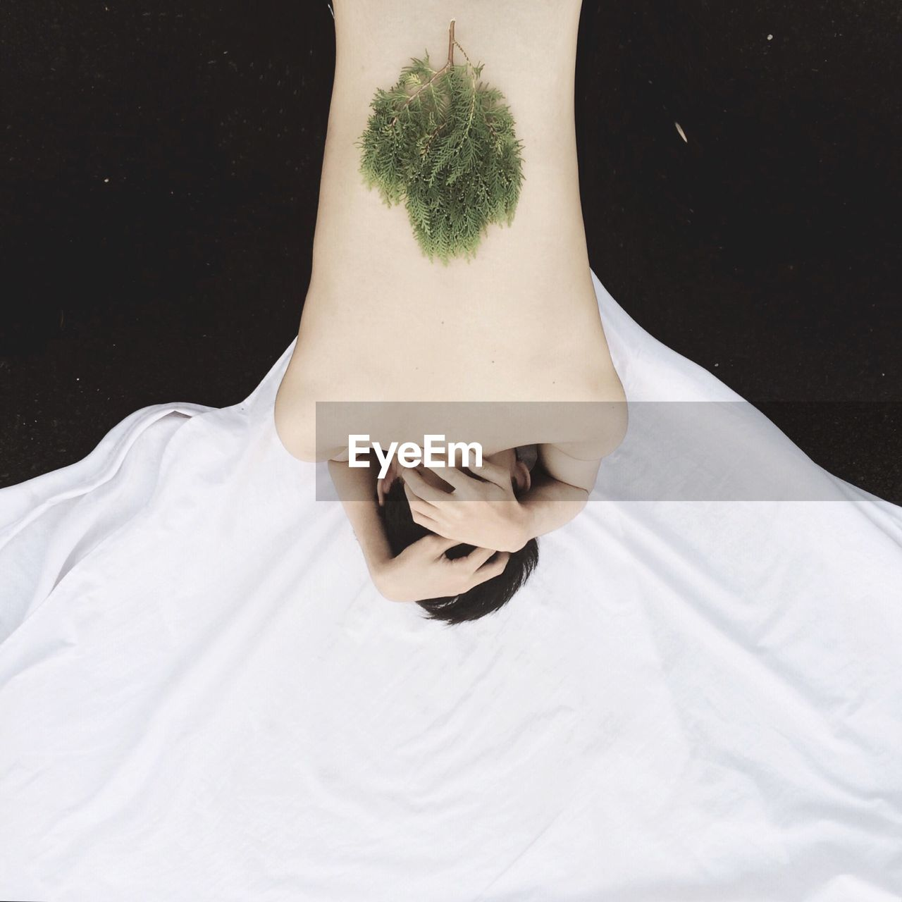 High Angle View Of Shirtless Man With Leaves On His Back