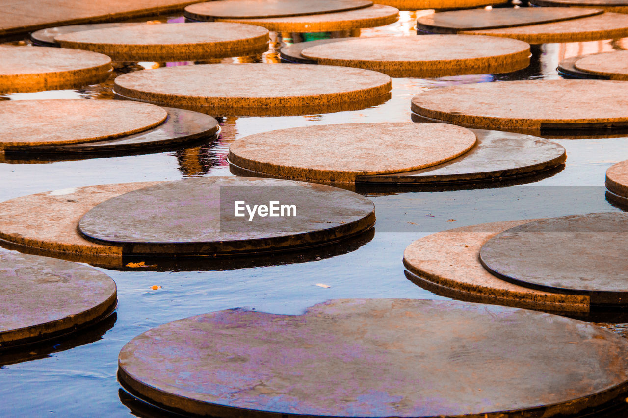 water, no people, circle, geometric shape, day, high angle view, in a row, curve, full frame, shape, nature, pattern, stepping stone, swimming pool, backgrounds, large group of objects, pool, outdoors, architecture