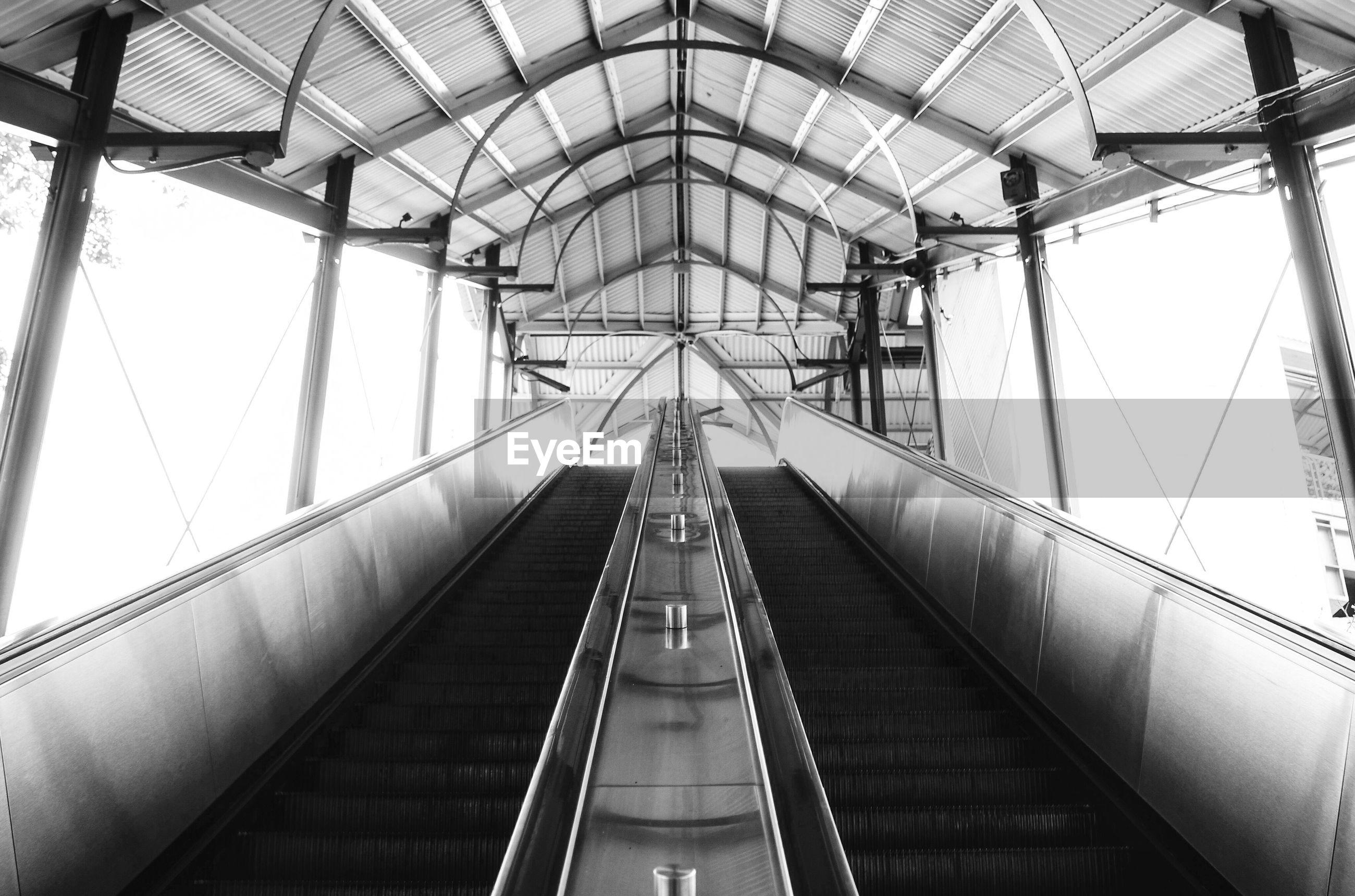 Empty escalators in subway