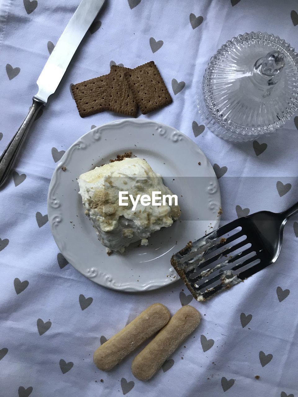 food, food and drink, eating utensil, kitchen utensil, fork, plate, freshness, table, ready-to-eat, high angle view, sweet, dessert, still life, sweet food, no people, indoors, indulgence, knife, dairy product, household equipment, temptation, table knife