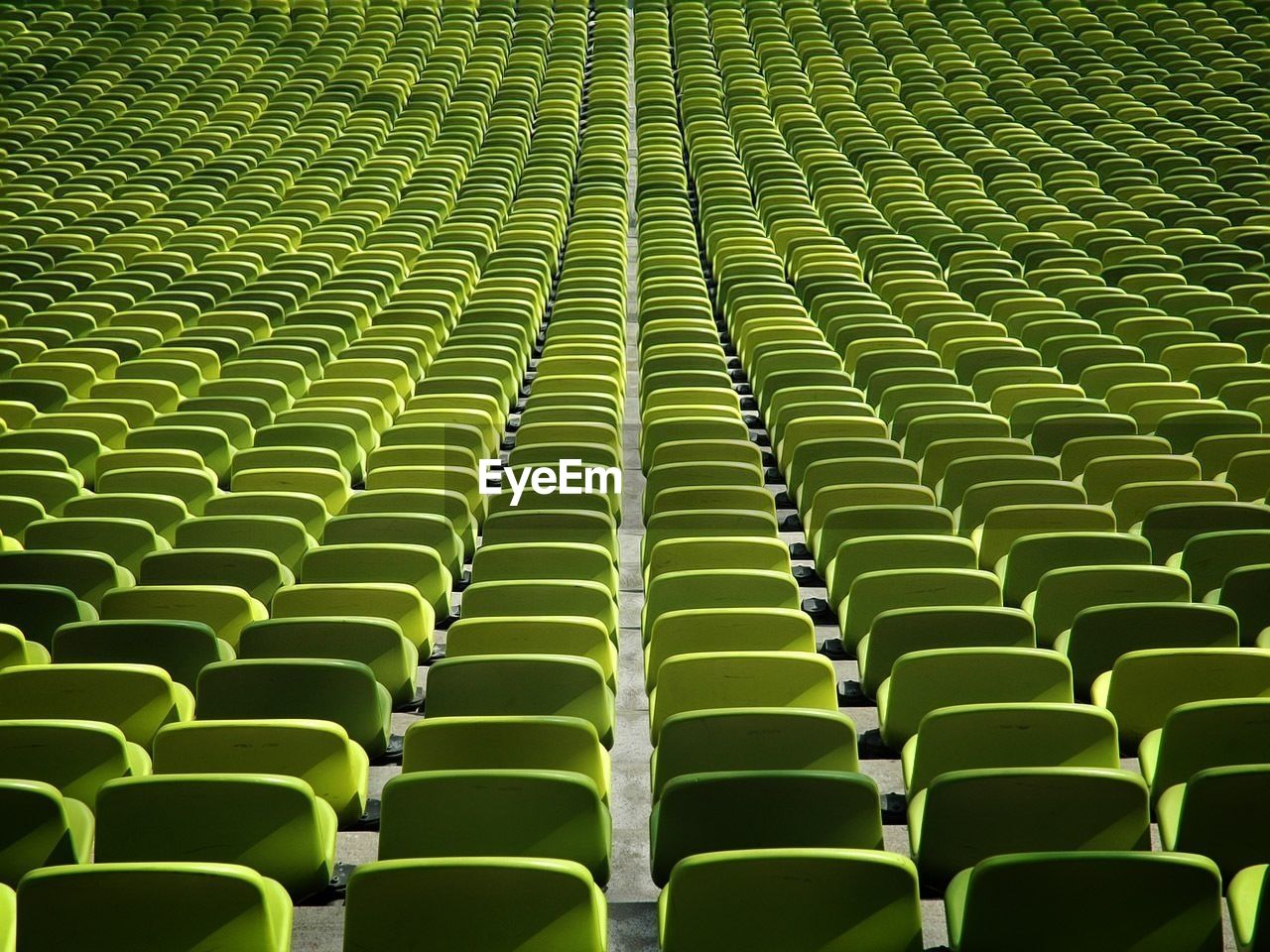 in a row, green color, full frame, repetition, no people, backgrounds, day, seat, indoors