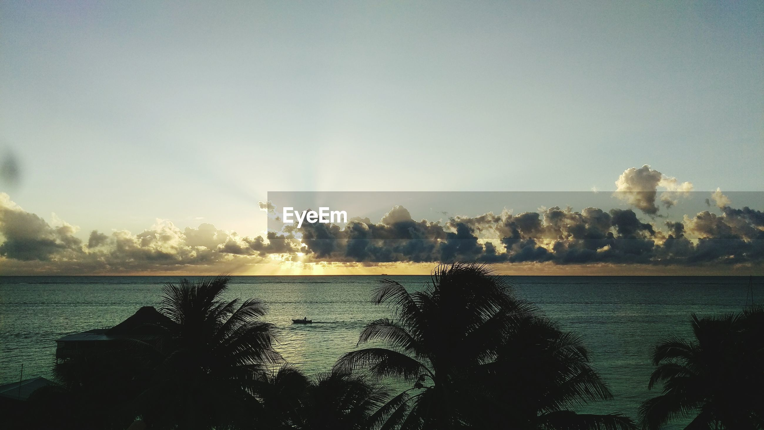High angle view of calm sea with silhouette palm trees in foreground