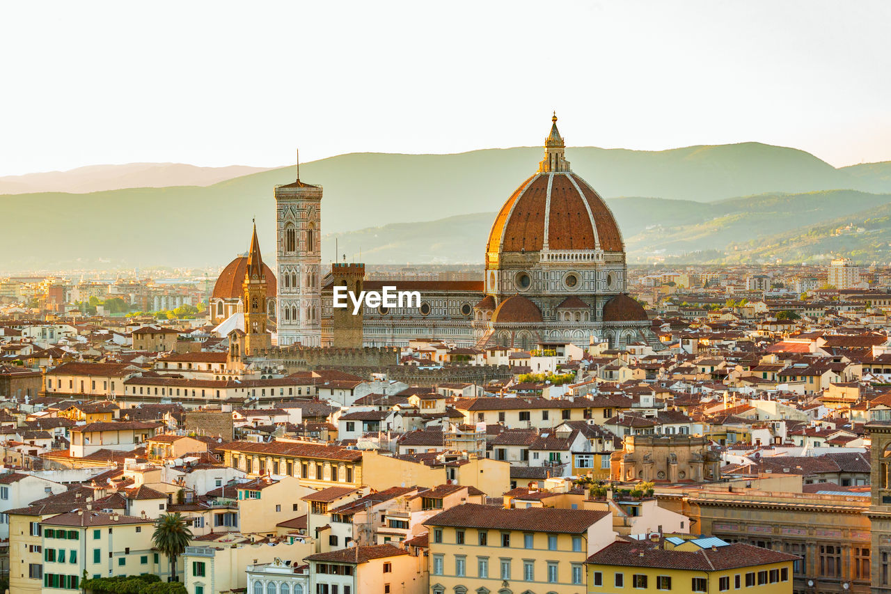 High Angle View Of Florence Cathedral In City During Sunset