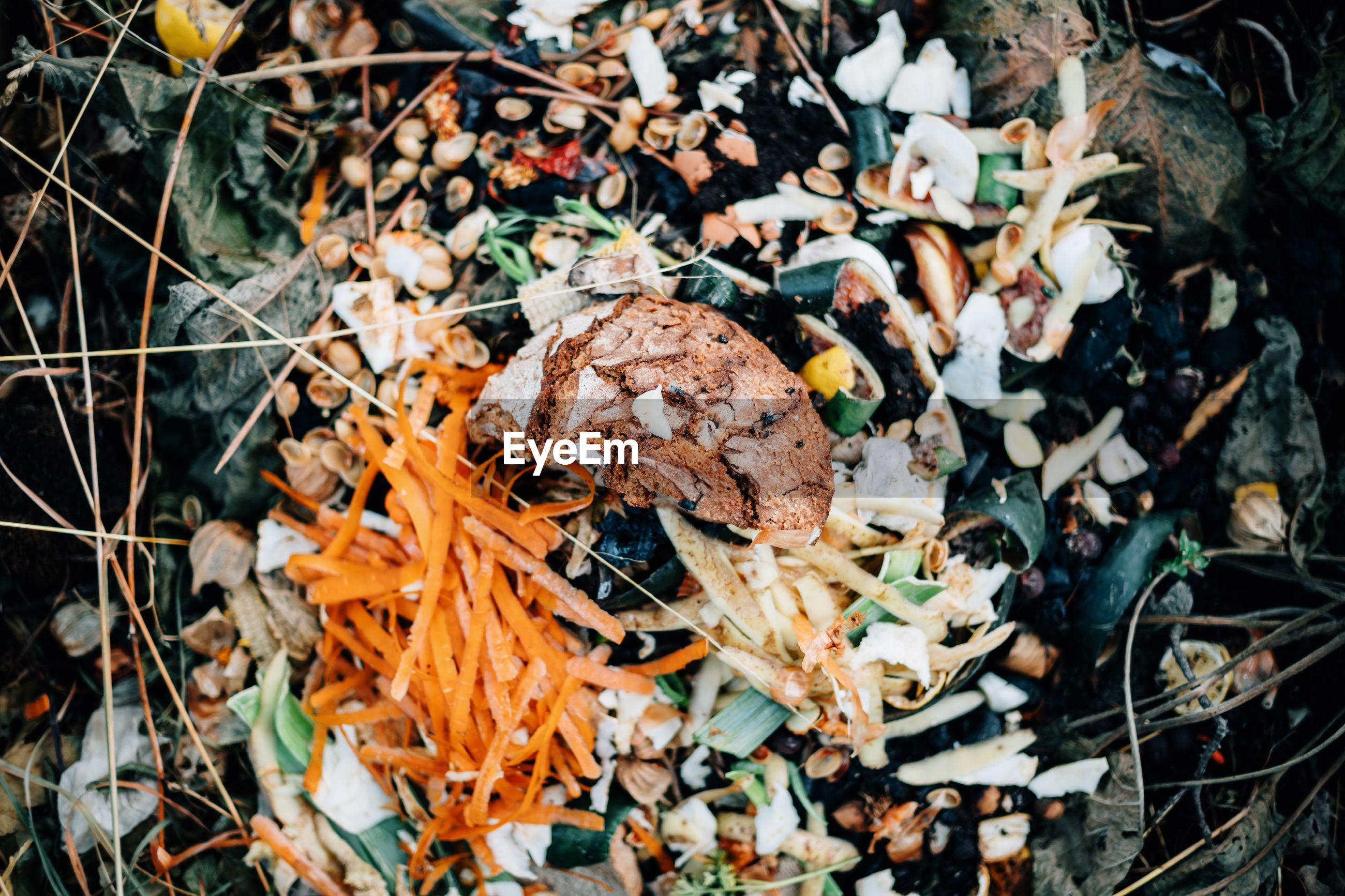 High angle view of compost