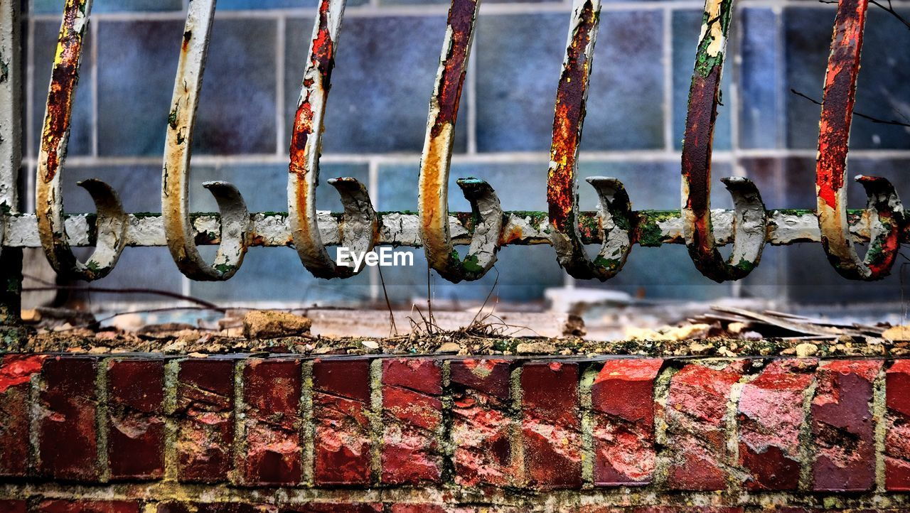 rusty, metal, day, no people, outdoors, close-up, red, architecture