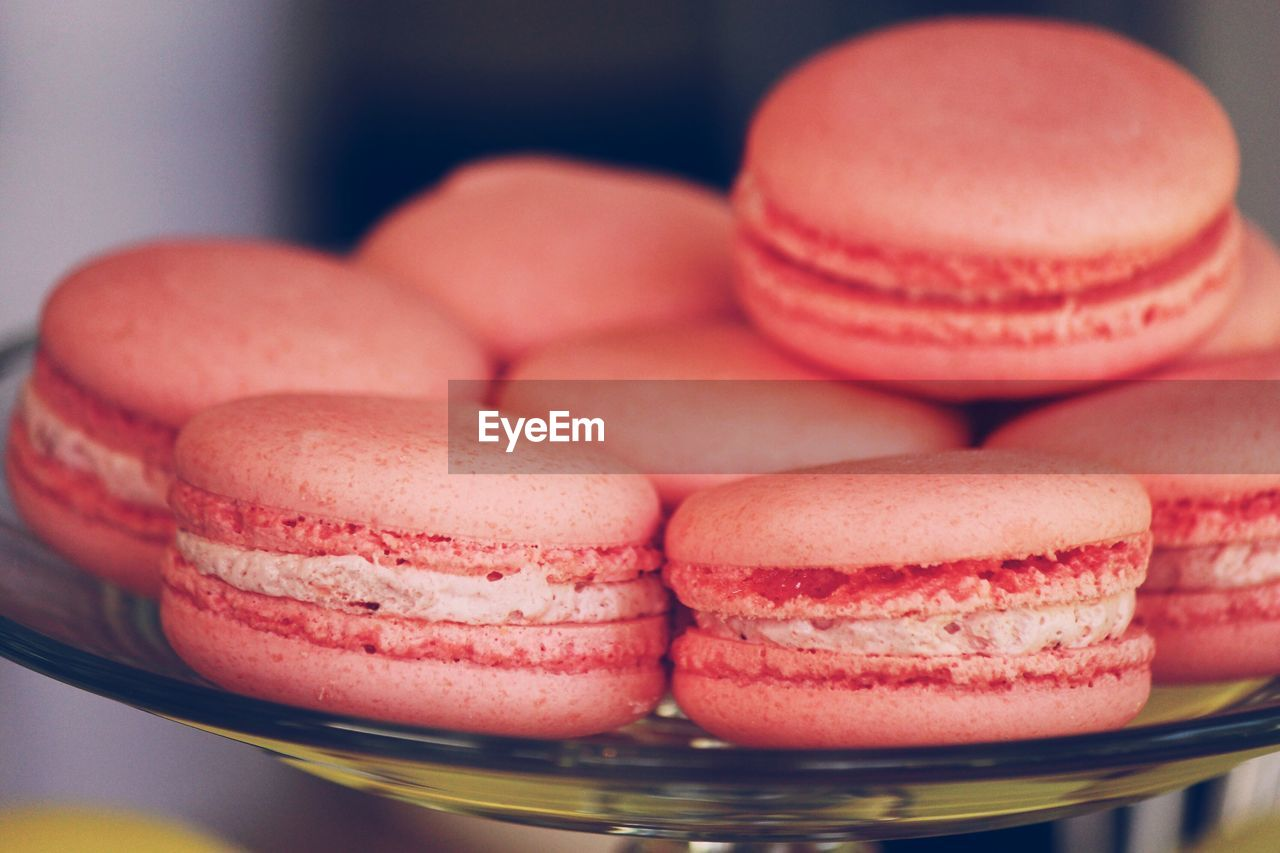 Close-up of macaroons in plate