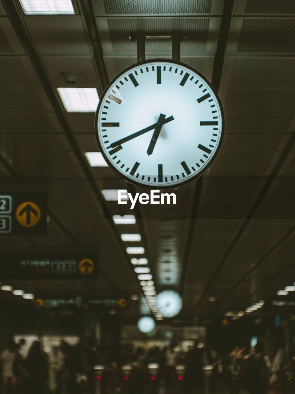 LOW ANGLE VIEW OF CLOCK AT STATION