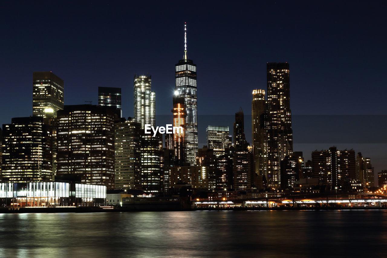 Illuminated City Lit Up At Night