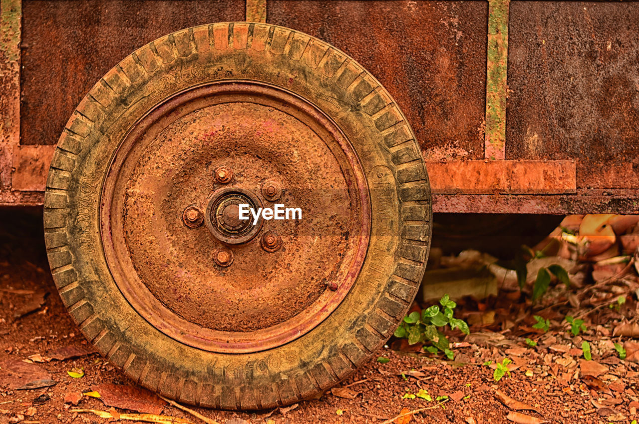 no people, wheel, day, close-up, outdoors