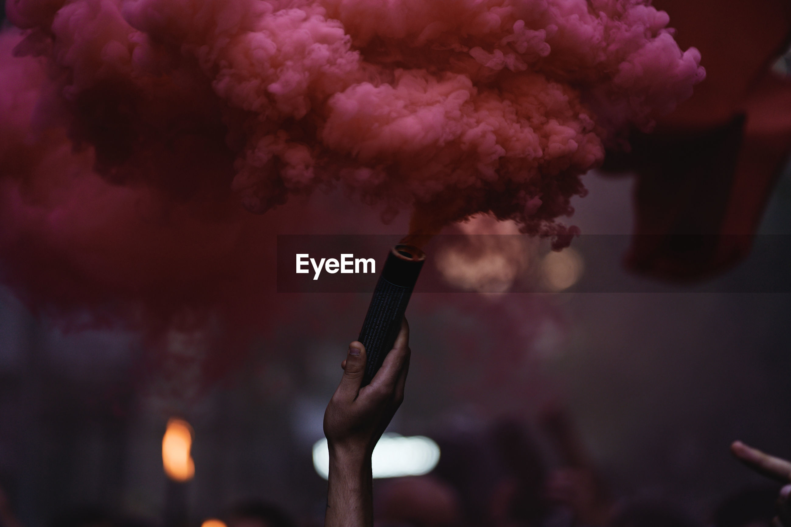 Red smoke from a flare