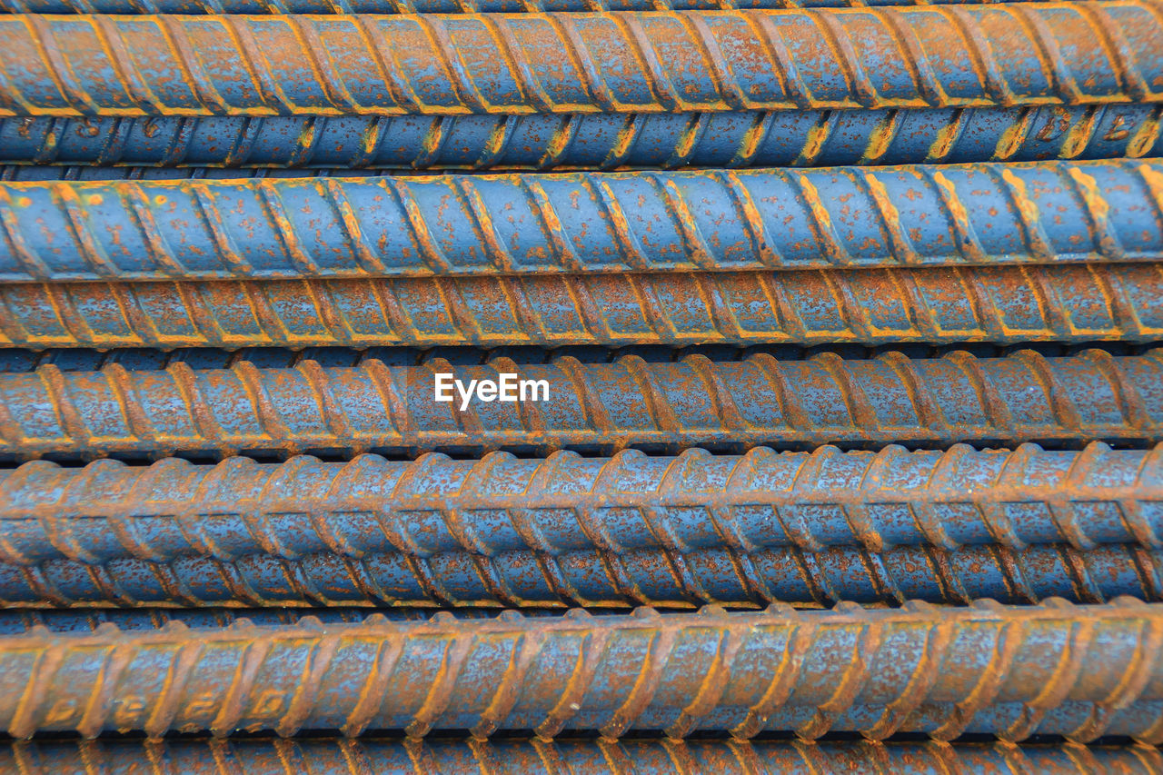 backgrounds, full frame, pattern, no people, rusty, metal, repetition, close-up, day, high angle view, textured, weathered, industry, design, old, run-down, sheet metal, in a row, textile, outdoors, alloy, steel, roof tile
