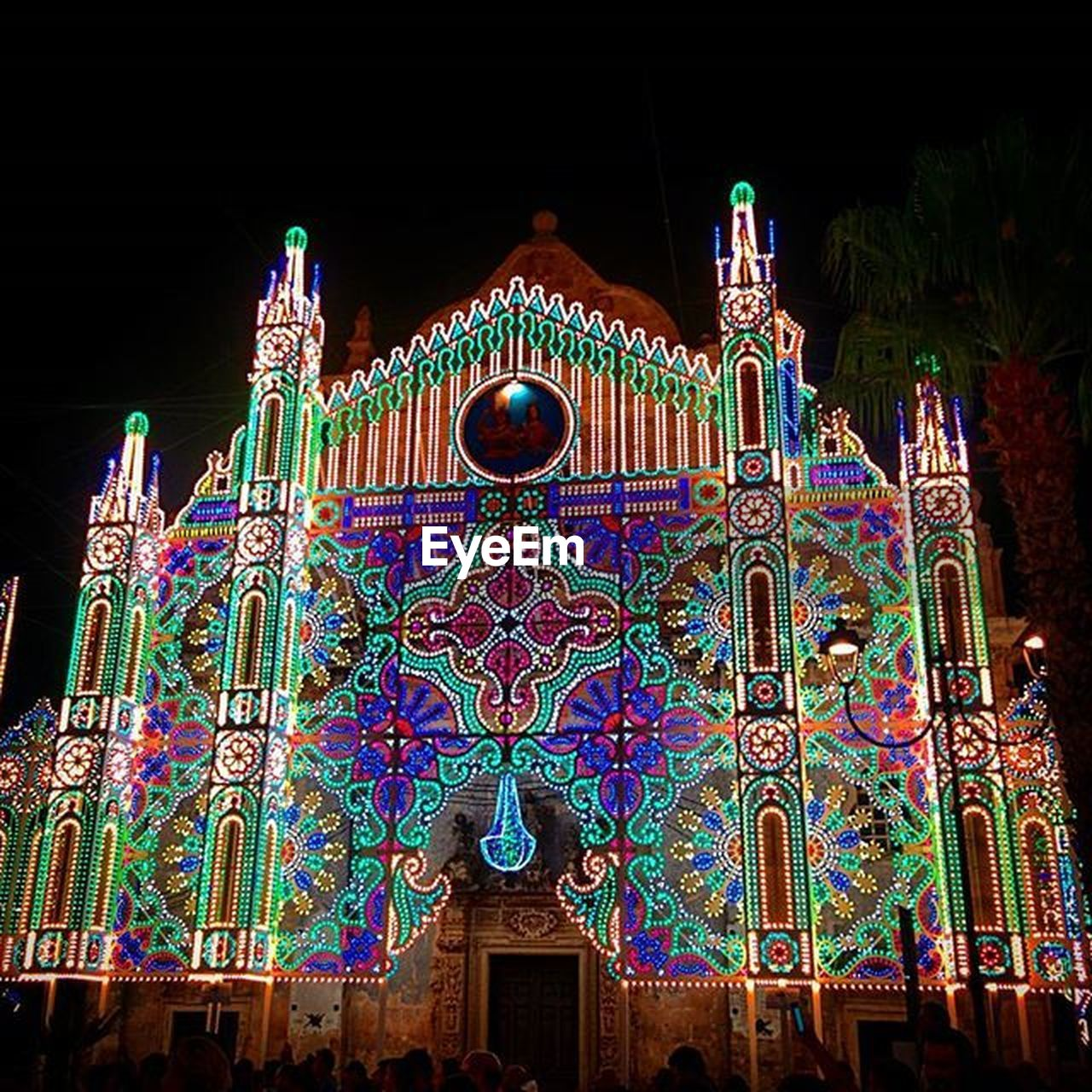 multi colored, ornate, history, architecture, no people, night, outdoors, building exterior, black background