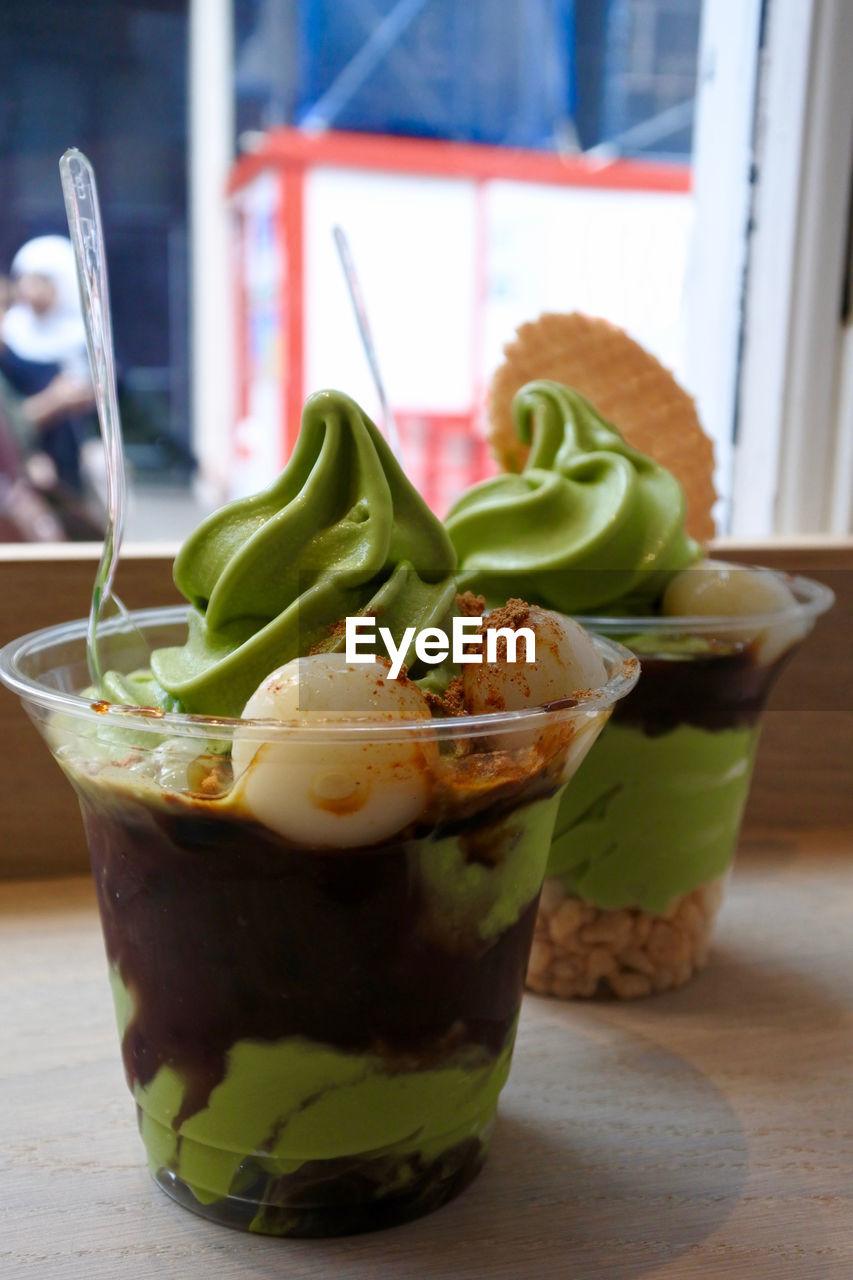 Close-up of matcha ice cream on table